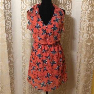 Bar III orange floral dress size medium
